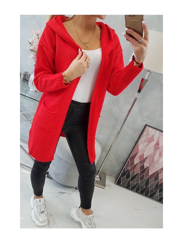 slo pl Obycajny sveter s kapucnou a vreckami cervena 18334 5