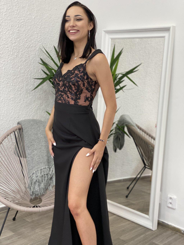 Šaty Melani černo-pudrové