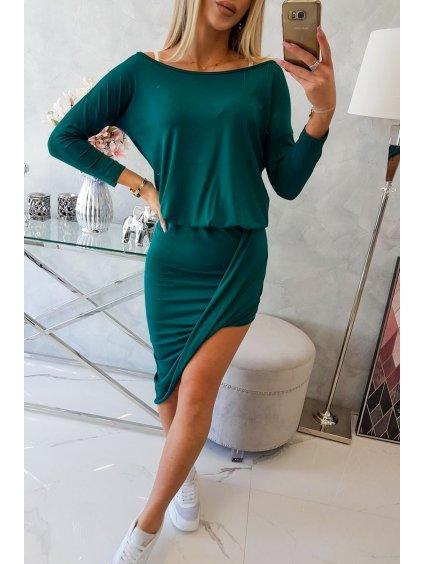 Šaty asymetrické s 3/4 rukávem zelené