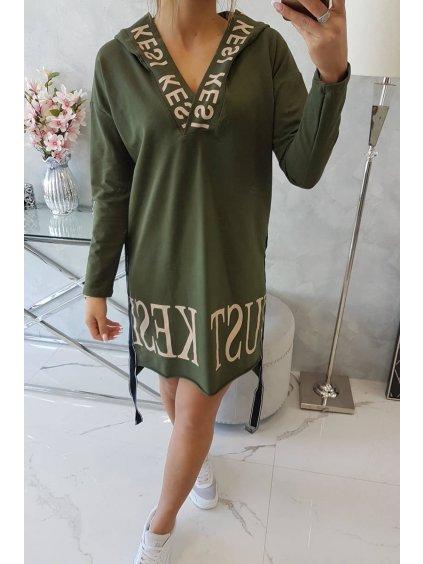slo pl Saty s kapucnou a potlacou khaki 20370 5