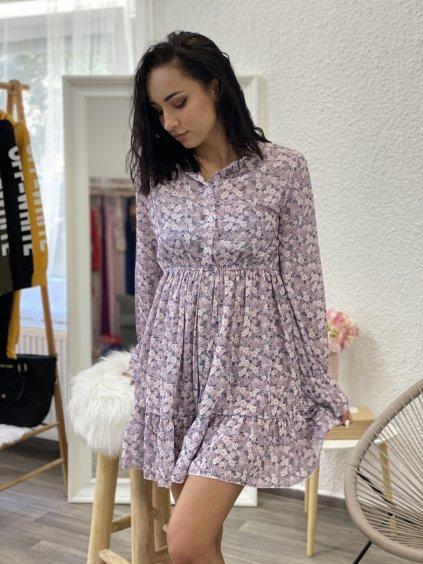 Šaty květované s límečkem fialové