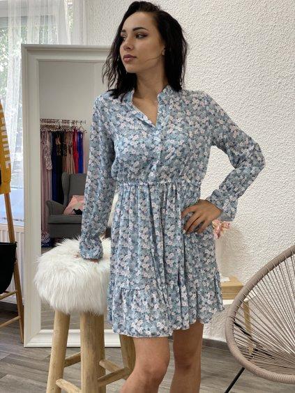 Šaty květované s límečkem modré