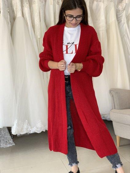 Kardigan dlouhý pletený hladký červený