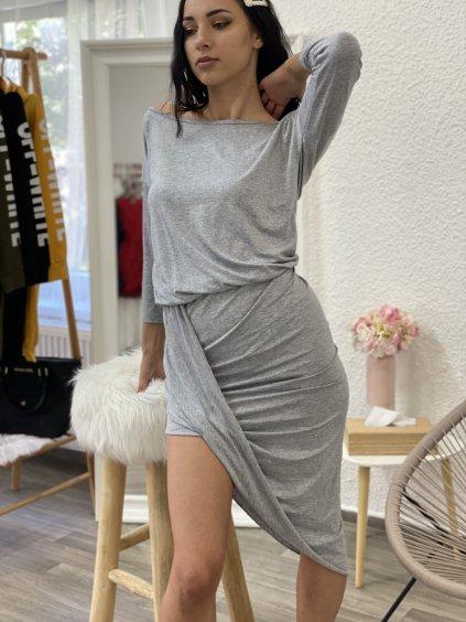 Šaty asymetrické s 3/4 rukávem šedé