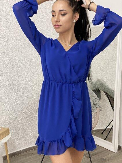 Šaty s dlouhým rukávem šifonové modré