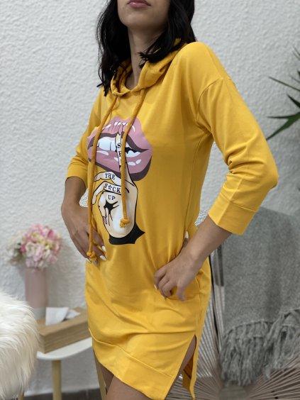 Mikinové šaty s potiskem žluté
