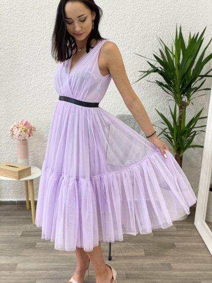 Šaty midi s tylem Paris lila