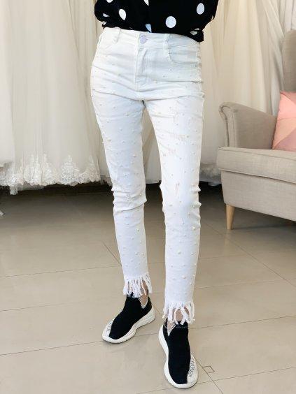 Džíny bílé s perlami