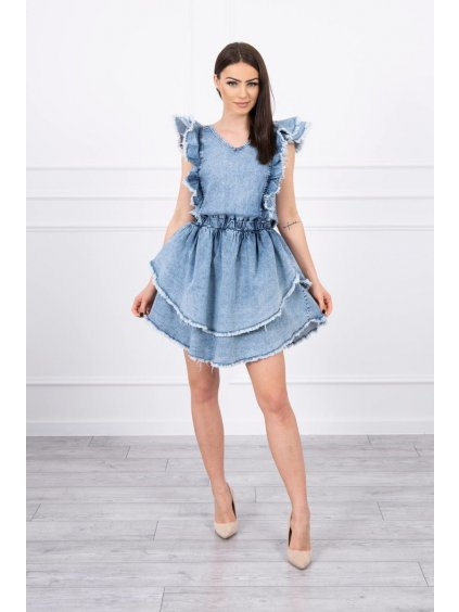 eng pl Stretch denim dress with double frill S M L XL 17376 1