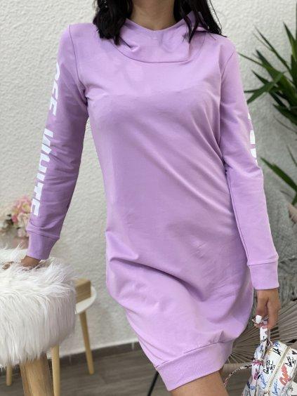 Mikinové šaty s nápisem lila