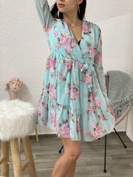 Šaty květované mint