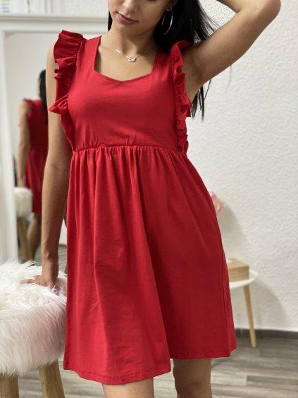 Šaty s volánkami po stranách červené