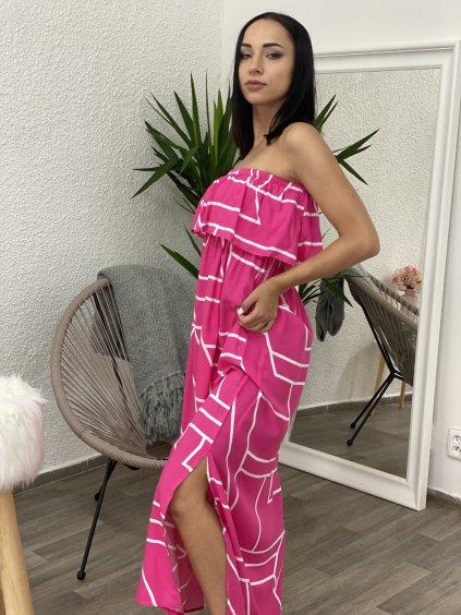 Šaty dlouhé bez ramínek se vzorem fuchsiové