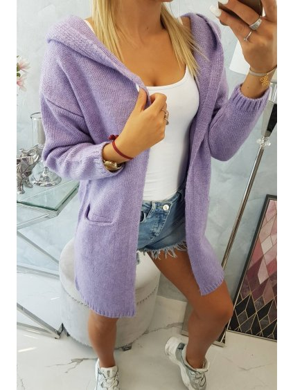 slo pl Obycajny sveter s kapucnou a vreckami fialova 18055 5