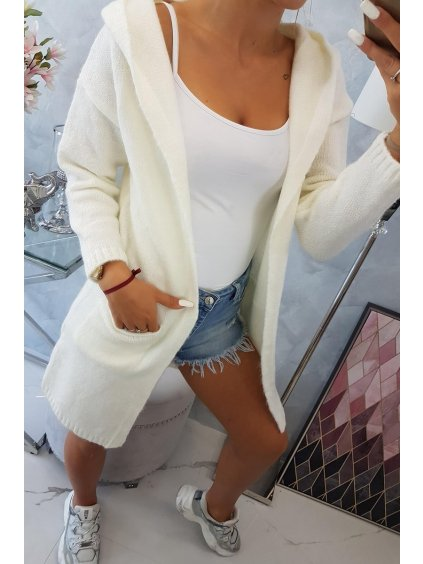 slo pl Obycajny sveter s kapucnou a vreckami ecru 18056 5