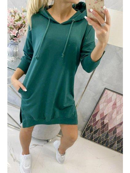 Mikinové šaty basic s rozparky zelené