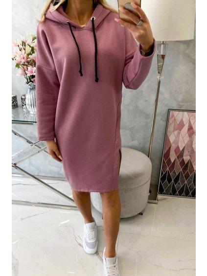 Mikinové šaty s kapucí a rozparky tmavě růžové