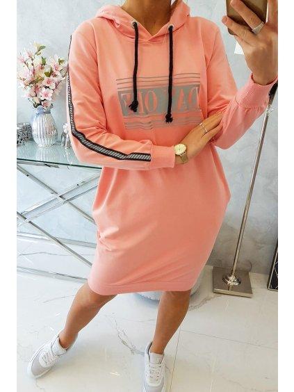 Mikinové šaty s reflexním nápisem meruňkové