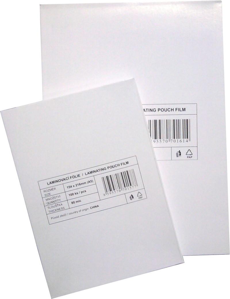 Laminovací fólie A3, A4, A5, A6, vizitkové formáty