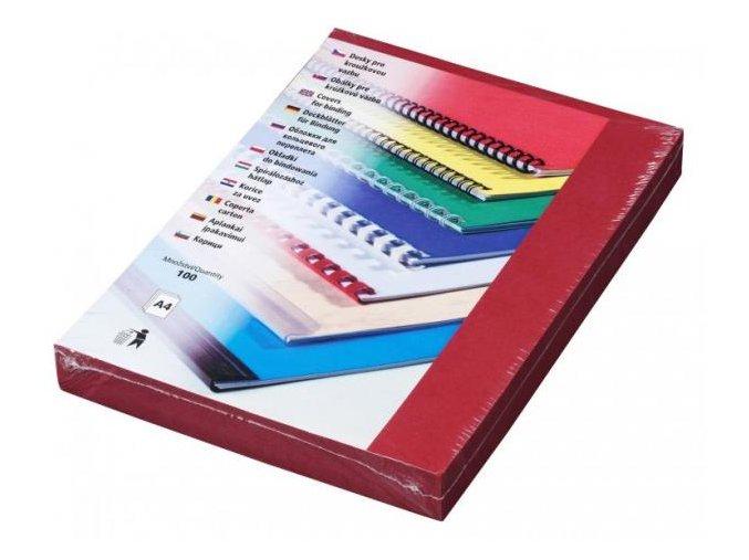Desky pro kroužkovou vazbu Linen A4 tmavě červené