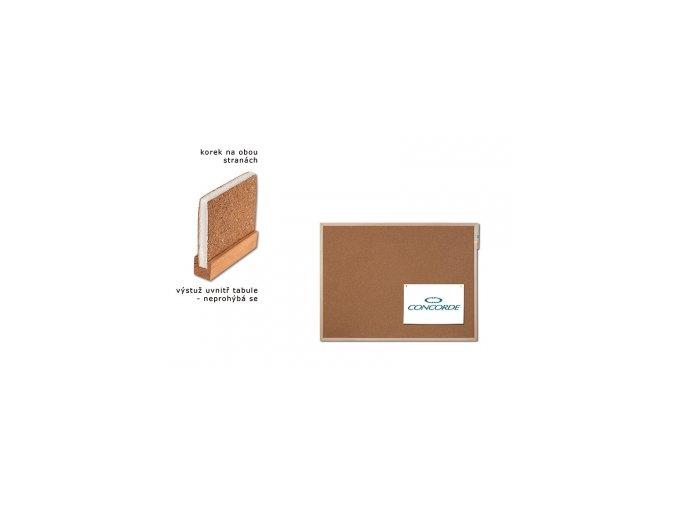 Korková tabule oboustranná CONCORDE, vyztužená 90 x 120cm