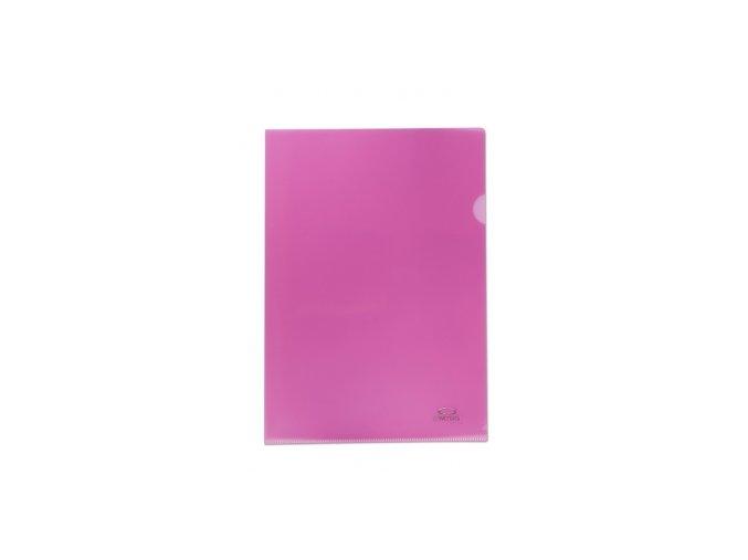 Zakládací obal A4, 180mi, tvar L, růžová,10ks