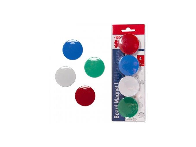 Magnet barevný ICO 40mm, 4 ks blistr