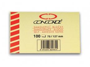 Samolepicí bloček CONCORDE - žlutý - 75x127mm, 100 listů