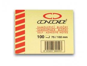 Samolepicí bloček CONCORDE - žlutý - 75x102mm, 100 listů