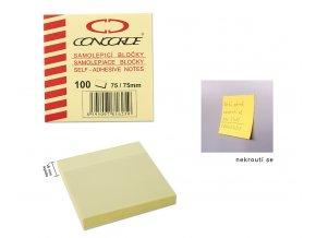 Samolepicí bloček CONCORDE - žlutý - 75x75mm, 100 listů
