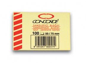Samolepicí bloček CONCORDE - žlutý - 50x75mm, 100 listů