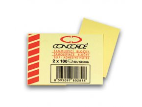 Samolepicí bloček CONCORDE - žlutý - 40x50mm, 2x100 listů