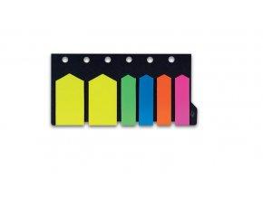 Samolepicí záložky CONCORDE - šipky - neon, 12x44mm, 25x46mm, 6x20 listů