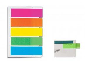 Samolepicí záložky CONCORDE - neon - 12x48mm, 5x20 plastových listů