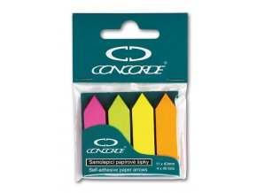 Samolepicí záložky CONCORDE - šipky - neon - 11x43mm, 4x40 listů