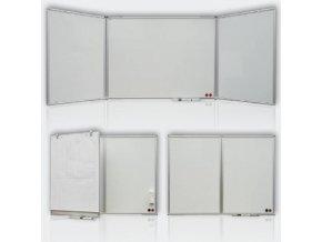 Magnetická rozkládací tabule, trojdílná, keramická 150x100/300