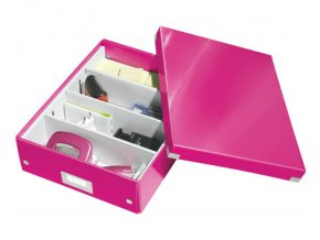 organizacni krabice click n store ruzova a4 4335