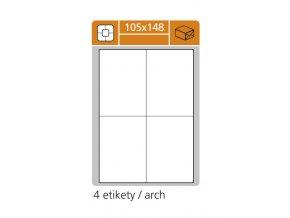 etikety samolepici 105x148mm 100 ks 1201
