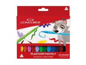 Plastové pastely CONCORDE trojhranné 12 ks