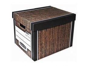 Archivační kontejner Fellowes Bankers Box Woodgrain hnědá, 2ks
