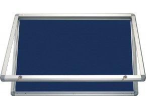 Horizontální vitrína 150x100 cm se zámkem, textilní modrá