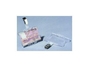 Jmenovka na karty s klipem 54x85 mm, transparentní