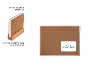 Korková tabule oboustranná CONCORDE, vyztužená 30 x 40cm