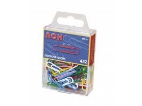 Dopisová spona RON 452 barevná 28 mm, 100 ks v závěsném obalu