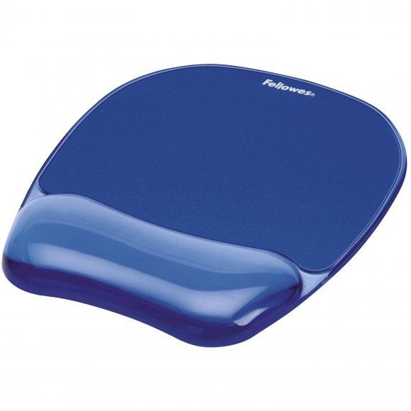 Podložka pod myš a zápěstí Fellowes CRYSTAL, gelová modrá