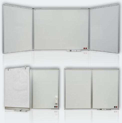 2x3 Magnetická rozkládací tabule, trojdílná, lakovaná 120x90/240