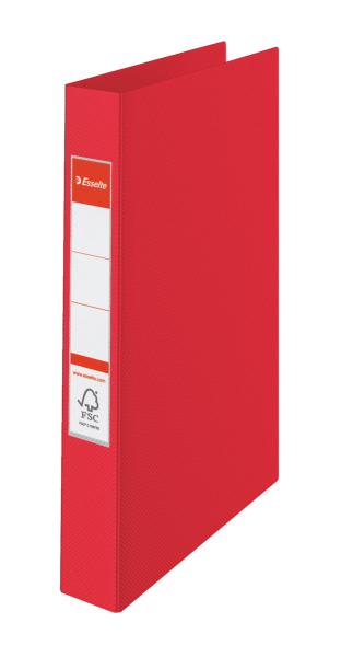 ESSELTE Kroužkový pořadač plastový VIVIDA, červený 4 kroužky 14459