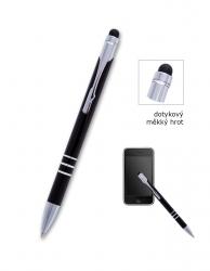 Kuličkové pero CONCORDE Soft černé, dotykové, bez potisku