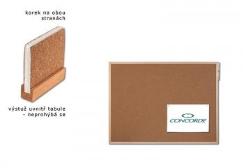 Korková tabule oboustranná CONCORDE, vyztužená 40 x 60cm