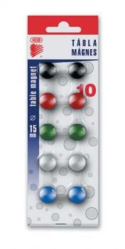 Magnet barevný ICO 15mm, 10 ks blistr